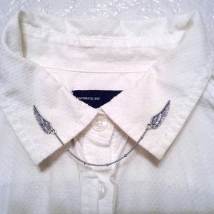 Small Silver Angel Wing Collar Pins Sweater Clips